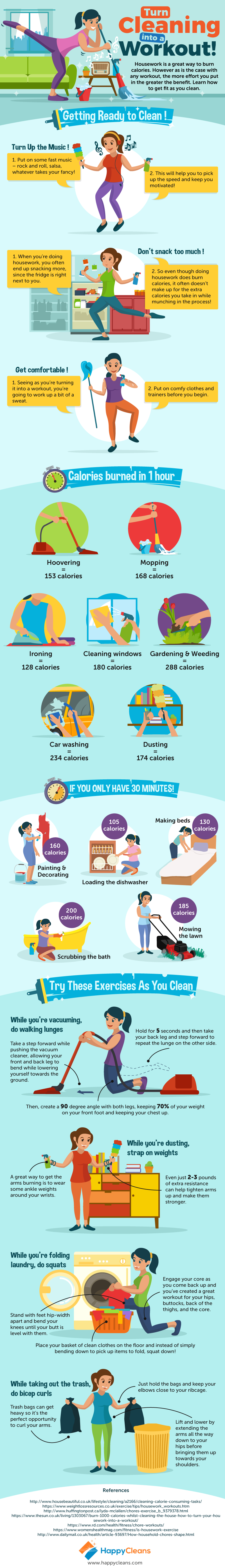 How to Turn House Cleaning Into a Workout [Infographic]